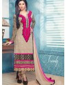 Cream And Pink Georgette Churidar Suit