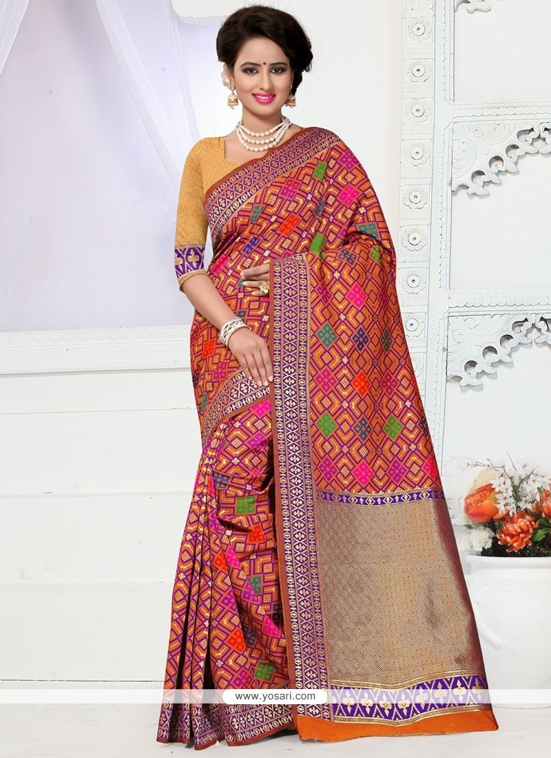 Hypnotizing Weaving Work Multi Colour Banarasi Silk Designer Traditional Saree