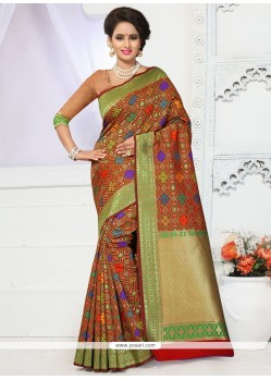 Urbane Banarasi Silk Multi Colour Weaving Work Traditional Saree
