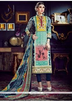 Glamorous Cotton Silk Digital Print Work Pant Style Suit