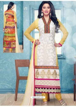 White And Yellow Georgette Churidar Suit