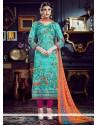 Fabulous Multi Colour Cotton Silk Pant Style Suit