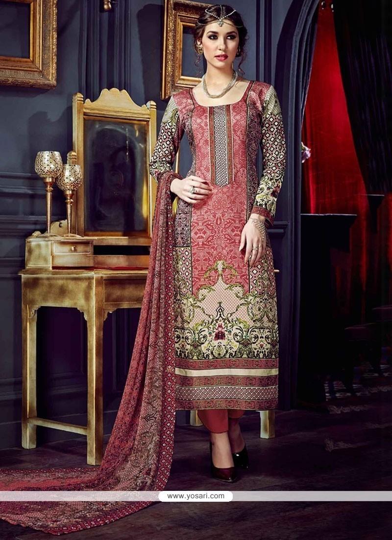 Artistic Digital Print Work Cotton Silk Multi Colour Pant Style Suit