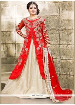 Astonishing Bhagalpuri Silk White And Red Long Choli Lehenga