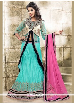 Glossy Embroidered Work Turquoise Long Choli Lehenga