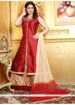 Masterly Art Silk Maroon Lace Work Long Choli Lehenga