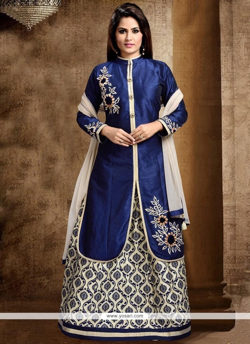 Dignified Navy Blue Resham Work Dupion Silk Long Choli Lehenga