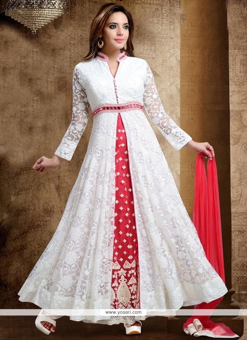 Affectionate White Sequins Work Net Long Choli Lehenga