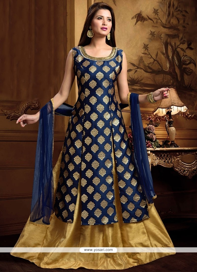 Absorbing Navy Blue Brocade Long Choli Lehenga
