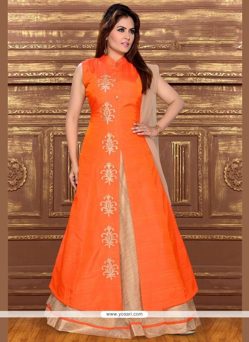 Beautiful Dupion Silk Long Choli Lehenga
