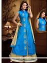 Sonorous Blue Lace Work Long Choli Lehenga