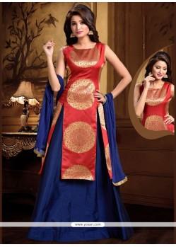 Magnetize Blue And Red Weaving Work Long Choli Lehenga