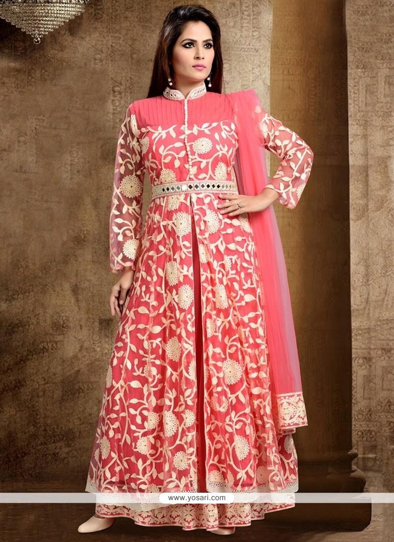 Subtle Net Rose Pink Long Choli Lehenga