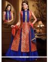 Blissful Lace Work Blue And Red Dupion Silk Long Choli Lehenga