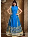 Divine Blue Zari Work Dupion Silk Long Choli Lehenga