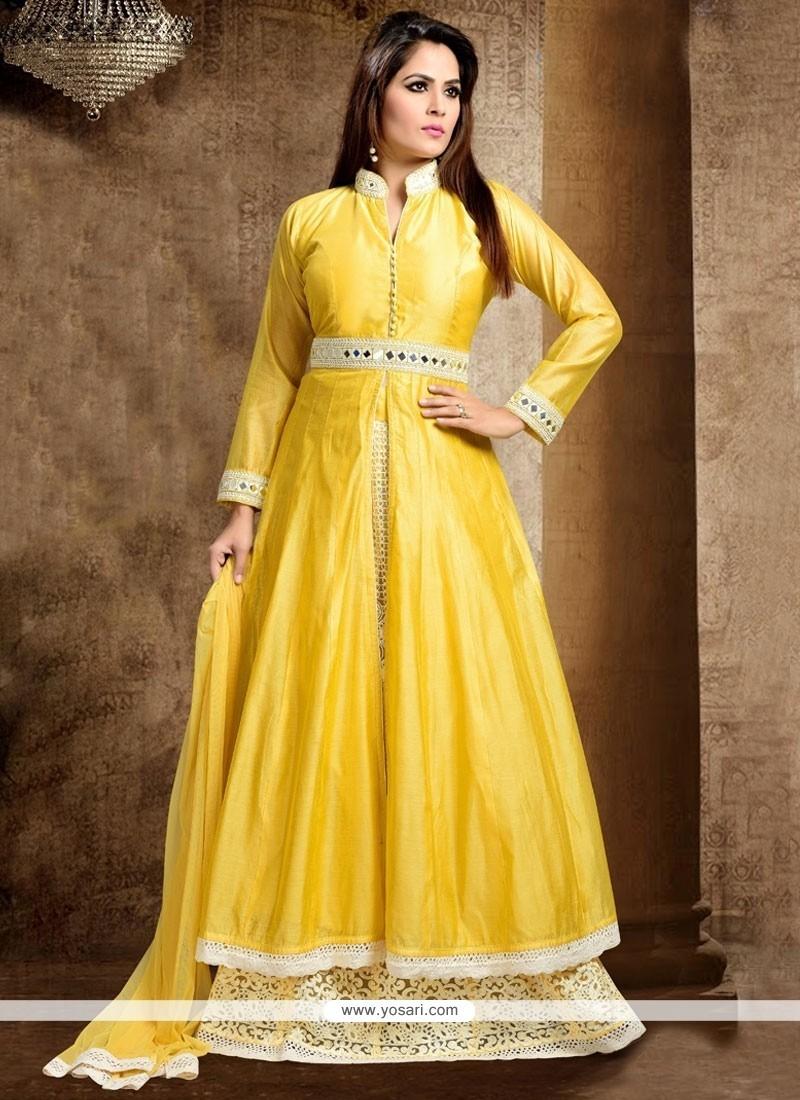 Fashionable Yellow Lace Work Dupion Silk Long Choli Lehenga