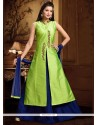 Celestial Art Silk Blue And Sea Green Long Choli Lehenga