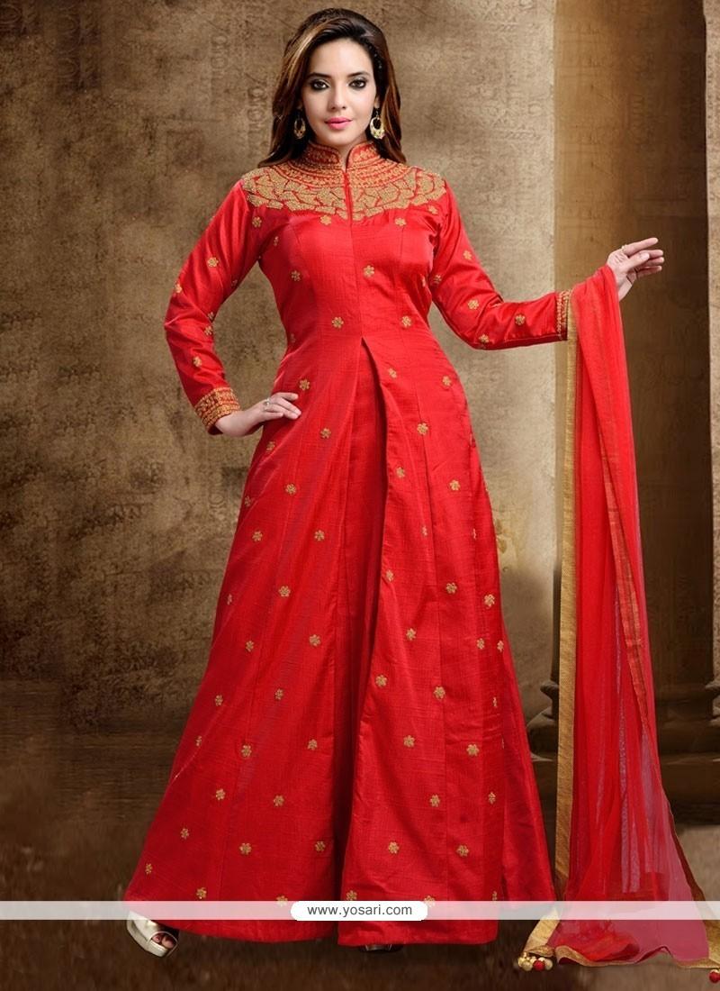 Resham Dupion Silk Long Choli Lehenga In Red