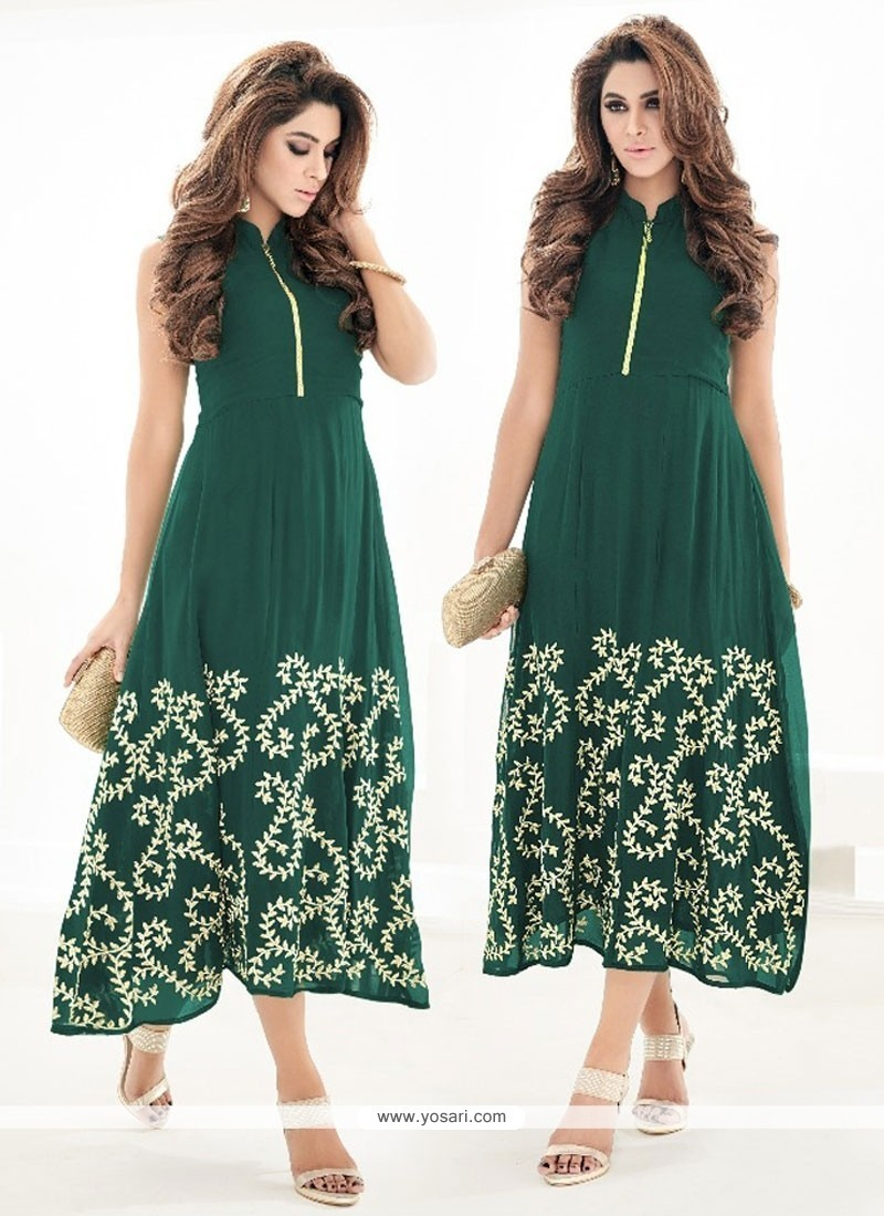 Sensational Embroidered Work Party Wear Kurti