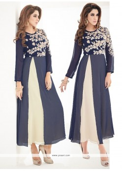 Irresistible Embroidered Work Faux Georgette Navy Blue Party Wear Kurti