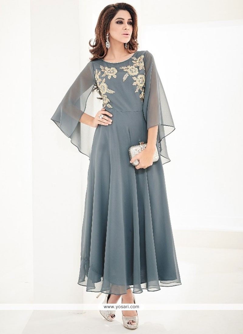 Modest Faux Georgette Grey Embroidered Work Party Wear Kurti