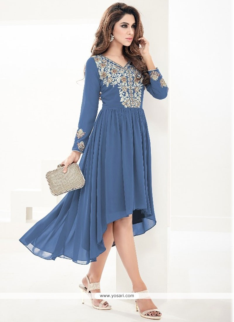 Preferable Blue Embroidered Work Faux Georgette Party Wear Kurti