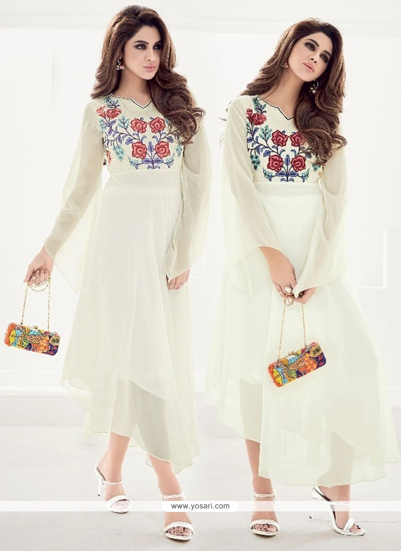 Capricious Faux Georgette White Embroidered Work Party Wear Kurti