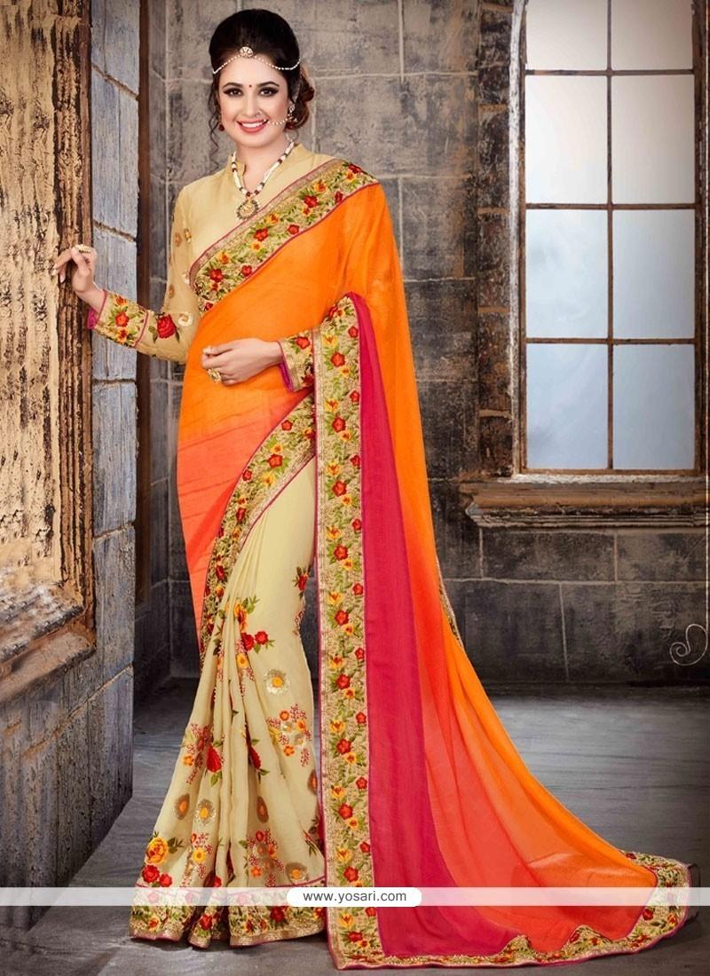 Enticing Multi Colour Faux Chiffon Classic Saree