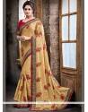 Dainty Beige Patch Border Work Classic Designer Saree