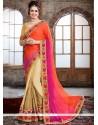 Hot Pink And Orange Patch Border Work Faux Chiffon Classic Designer Saree