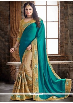 Charismatic Patch Border Work Beige And Sea Green Faux Crepe Contemporary Saree