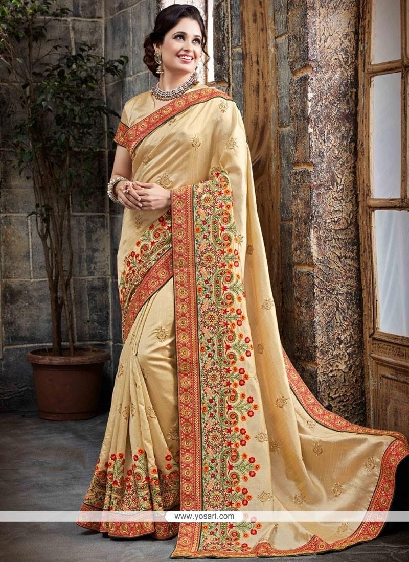 Sensible Bhagalpuri Silk Resham Work Traditional Designer Saree