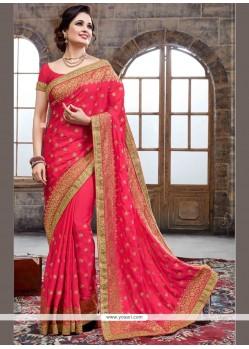 Hot Pink Resham Work Crepe Silk Designer Traditional Saree
