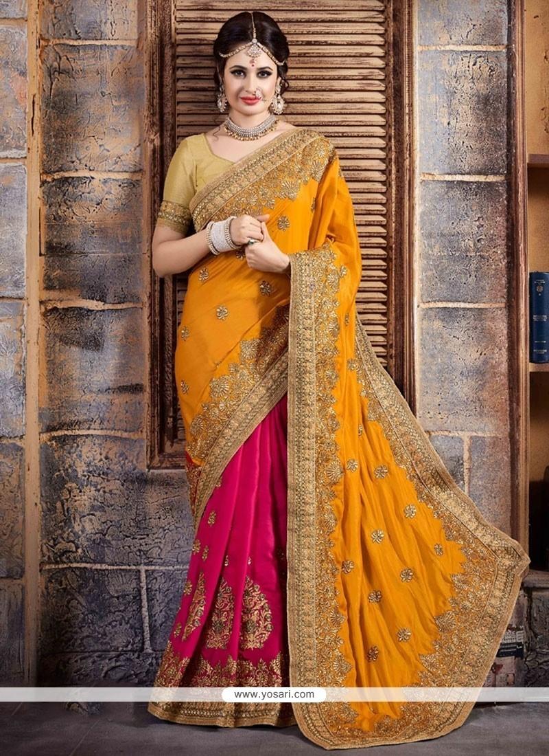 Ethnic Crepe Silk Embroidered Work Designer Half N Half Saree