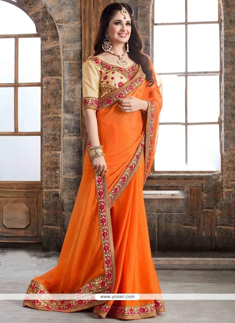 Fashionable Resham Work Faux Chiffon Classic Designer Saree