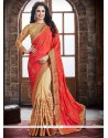 Beige And Orange Embroidered Work Crepe Silk Traditional Saree