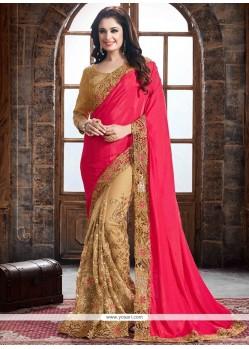 Vivacious Beige And Hot Pink Designer Half N Half Saree