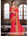 Aristocratic Embroidered Work Hot Pink Crepe Silk Traditional Designer Saree