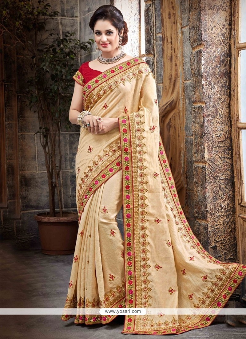 Energetic Faux Chiffon Embroidered Work Classic Designer Saree