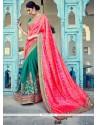 Patch Border Art Silk Designer Half N Half Saree In Hot Pink And Sea Green