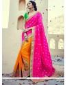 Unique Banarasi Silk Embroidered Work Half N Half Saree