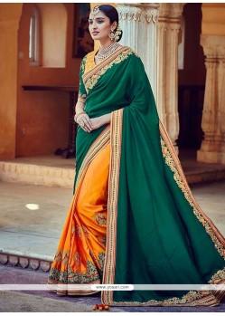 Sightly Art Silk Green And Mustard Half N Half Designer Saree