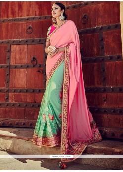 Absorbing Pink And Turquoise Designer Half N Half Saree