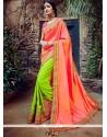 Distinctive Green And Orange Zari Work Tussar Silk Designer Half N Half Saree