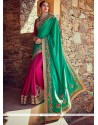 Intrinsic Hot Pink And Sea Green Designer Half N Half Saree