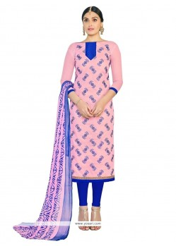 Sterling Chanderi Cotton Pink Lace Work Churidar Suit