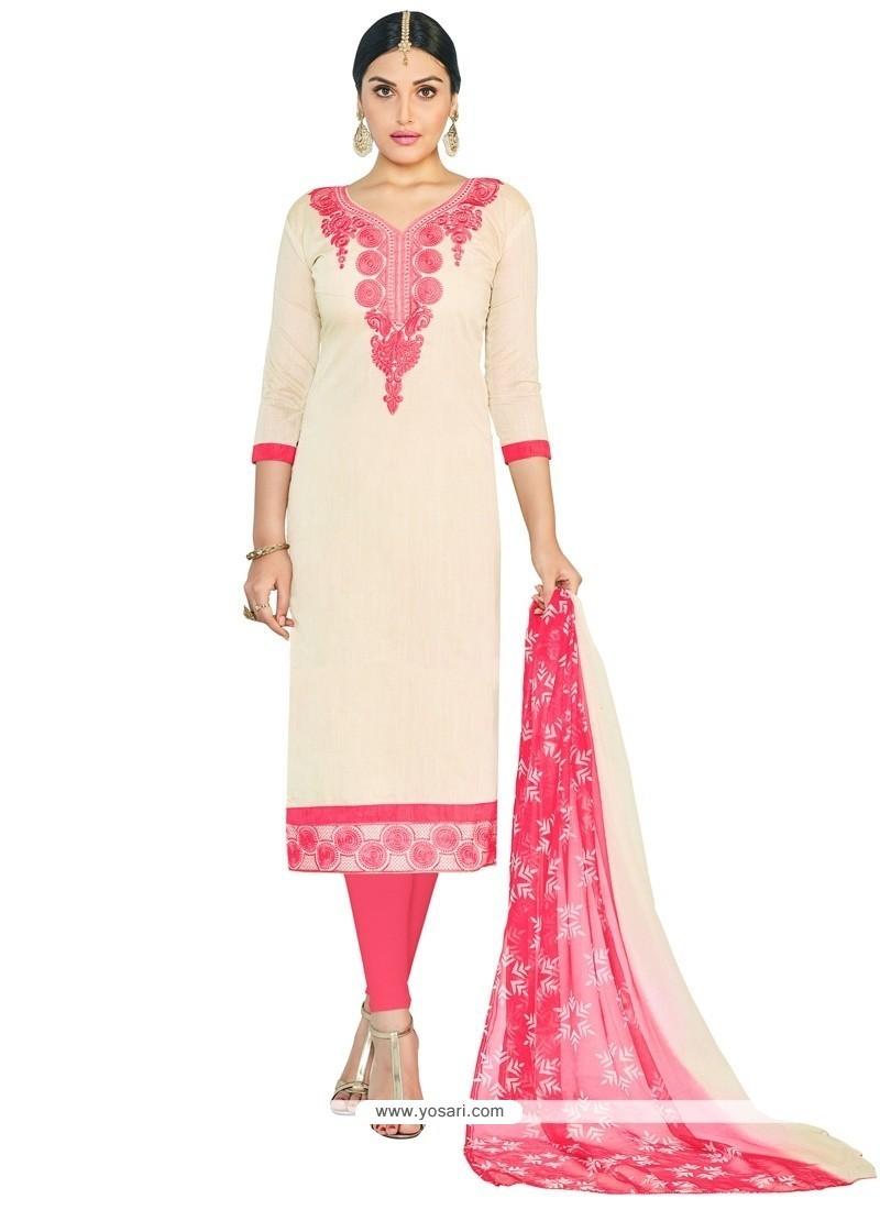 Lace Chanderi Cotton Churidar Suit In White