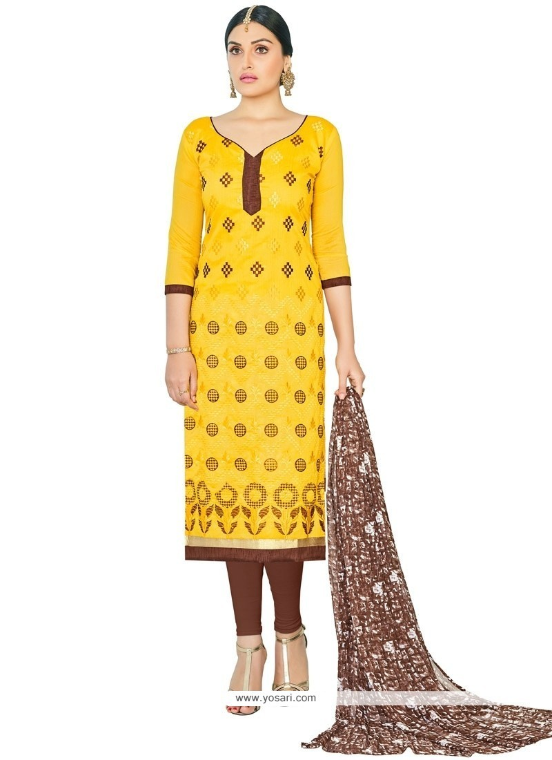 Sterling Chanderi Cotton Yellow Lace Work Churidar Suit