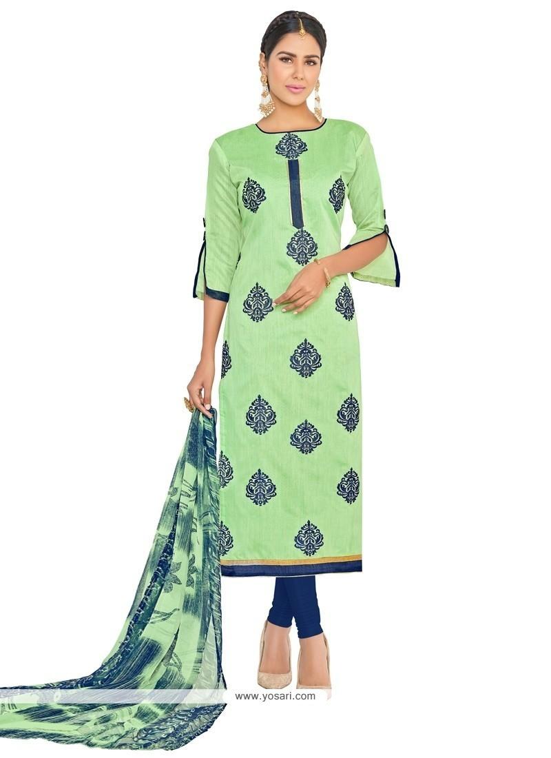 Distinctive Embroidered Work Chanderi Cotton Churidar Suit