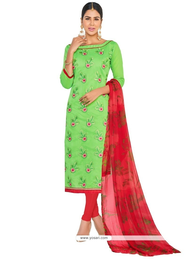 Fabulous Embroidered Work Green Churidar Suit